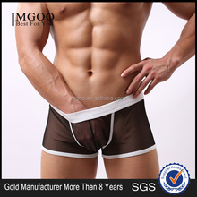 MGOO New Arrival Black Mesh Boxer Short Mens Transparent Sexy Tight Thongs Jocks st04