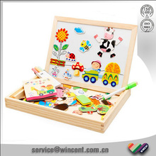 Educational Double Drawing board toys of wooden magnetic puzzle jigsaw for kids