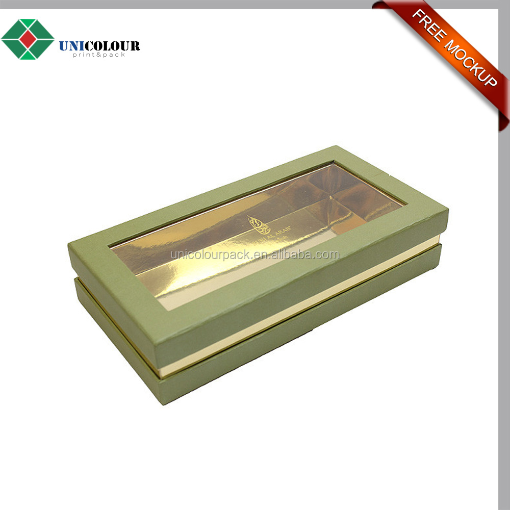 Gold foil View top cardboard chocolate boxes with lids wholesale