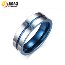 New Arrival Blue Cross Ring for Men Silver Plated Tungsten Steel Carbide Ring High Quality Jewelry