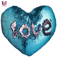 Sequins Throw Pillow Cover Two-tone Heart Shape Cushion Covers Magic Glitter Reversible Color Changing Decorative Case