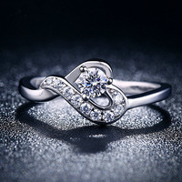 Professional Factory Jewellery R026 White Gold Silvered beautiful finger ring