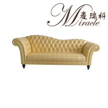 Living Room Furniture Yellow Color Sloping Back Button Sofas