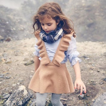 autumn baby girls dress fashion girl clothing knit sweater kids solid sleeveless school uniform vestido