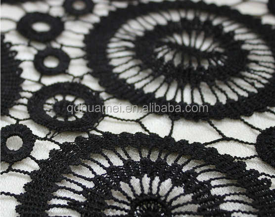 embroidery cotton lace curtain fabric