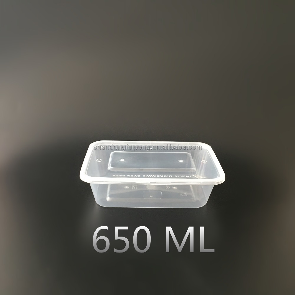 650ml rectangular flat lid hot disposable microwave pp food container