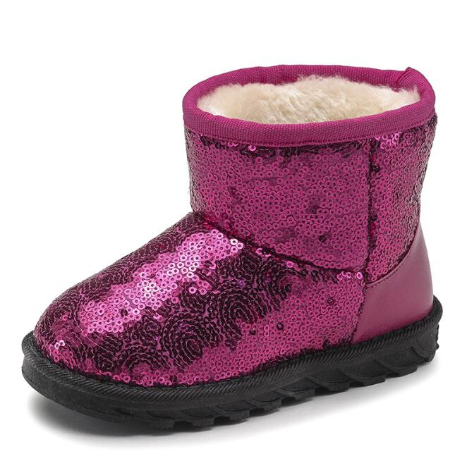 zm53197a Fashionable patterns winter snow boots for kids with sequin