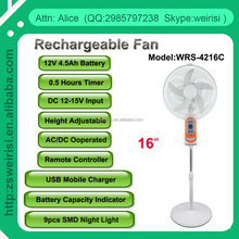 "16"" Stepless Speed switch Rechargeable Emergency Solar Fan with Remote Controller (WRS4216C)"