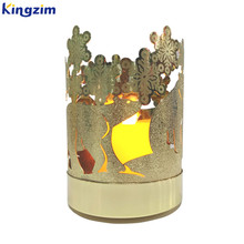 Gold Finish LED Tea Light Lantern Lace Jar Wax Candle Sleeve