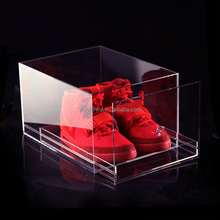 High quality PMMA/acrylic/plexiglass/clear perspex nike air jordan shoe box with drawer