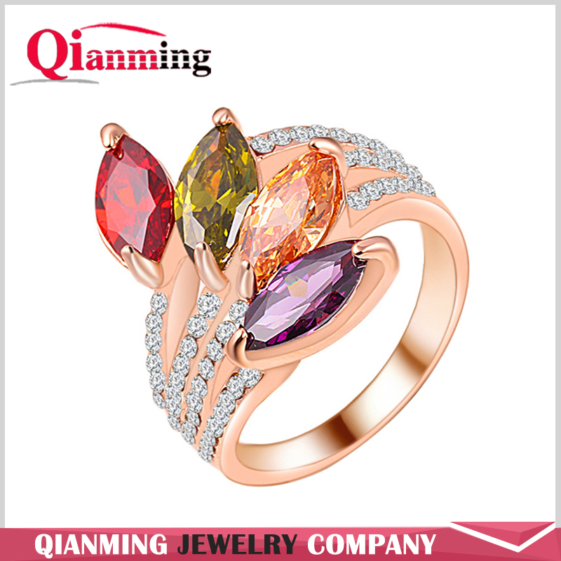 Trendy Multi Color Zircon Finger Rings Wholesale Elements Austrian Crystal Rose Gold Plated Rings for Women Wedding Ring