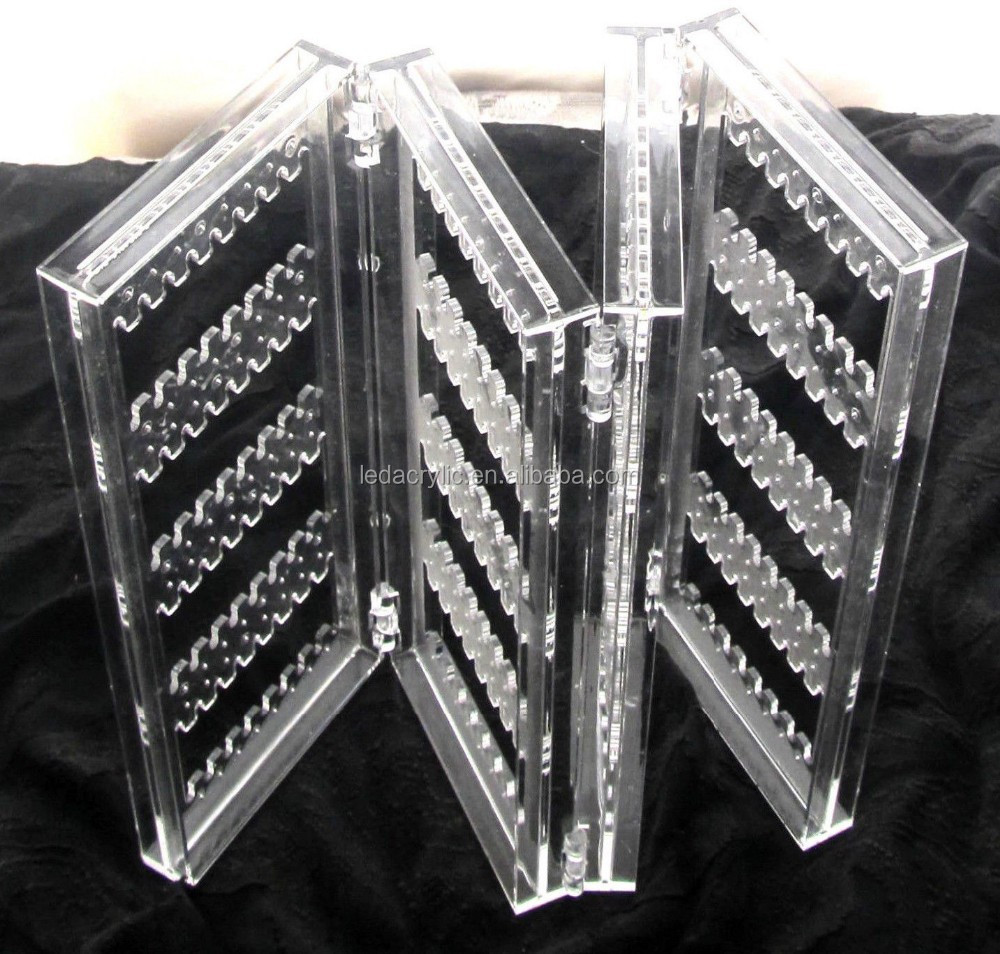 Acrylic 4 Panel Folding Screen Earring Jewelry Store Display Holder Organizer