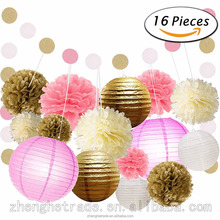 White, Gold, Pink, Yellow paper lanterns paper pom poms paper garlands Combination
