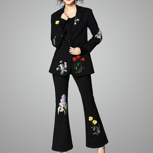 european fashion women casual elegant embroidery suit office lady flare pant tuxedo suits