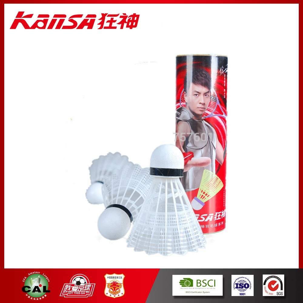 Kansa-5707 White Color Durable Nylon Hot Sale Badminton Shuttlecock
