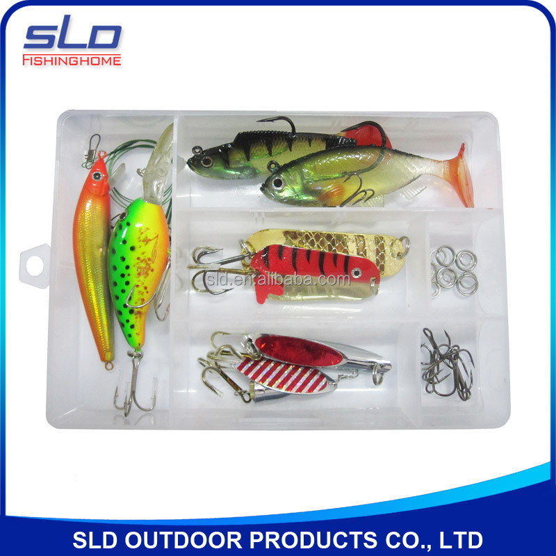 fishing spin lure bait kit with accessories with plastic box