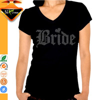 Crystal Bride Motif Rhinestone Tshirt For