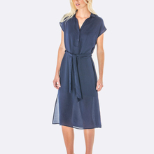 Summer Short Navy A-Line Dress Women Maxi Casual Dress Knee- Length With Button Loose Fit Beach Wear
