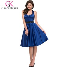 Grace Karin Halter Solid Color Backless Cheap Royal Blue Retro Styled Dress CL006046-3