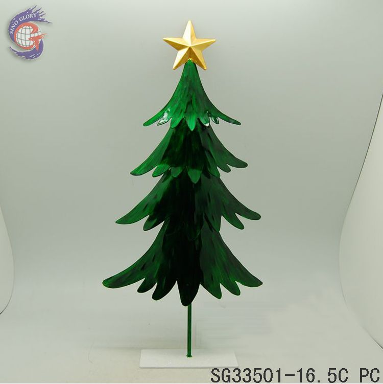 cheap mini green metal christmas tree decoration