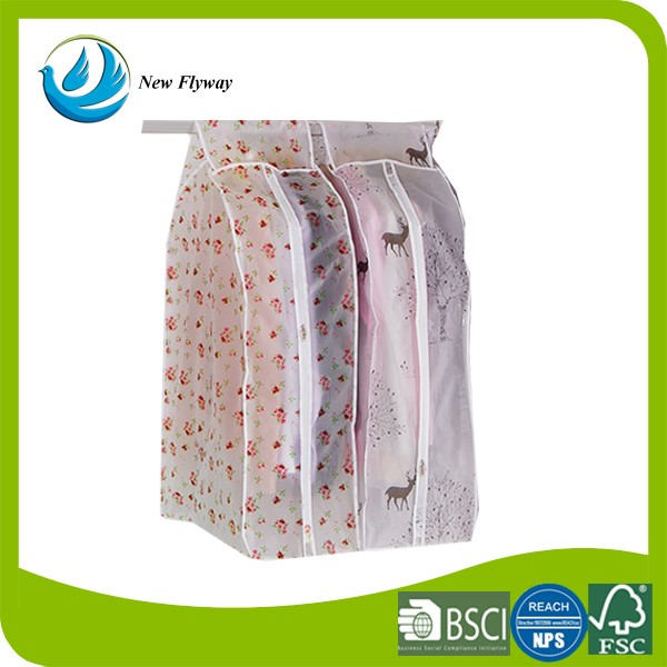 Wholesale transparent waterproof dustproof foldable plastic garment bag