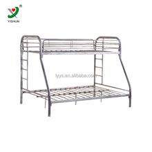 three seat metal bunk bed in school student dormitory room