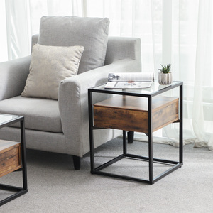 China Furniture Manufacturers Wood End Table With Glass Top Glass Coffee Table Metal