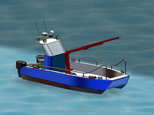 7M Aluminum Work Boat With Crane Small Fishing Boat Sea Farming Fish Feeding