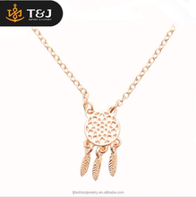 2016 new design hot sales dreamcather jewelry gold plated dream catcher pendant Necklace For Women