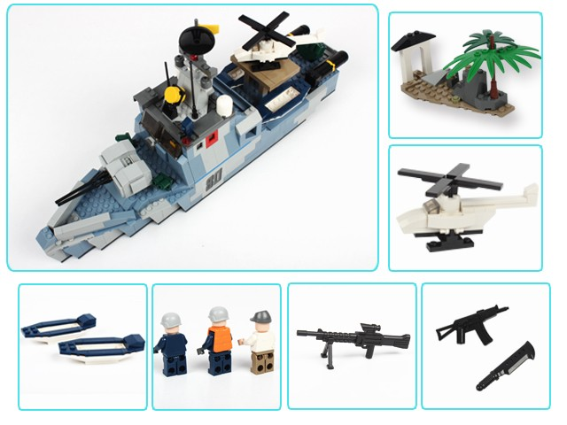 520 PCS plastic large offshore picket ship children building block toy