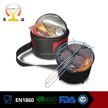 Wholesale ce listed durable cooler bag 2 in 1 outdoor camping bbq round charcoal grill basket