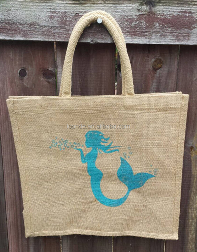 importer of natural jute tote bag printed marine life