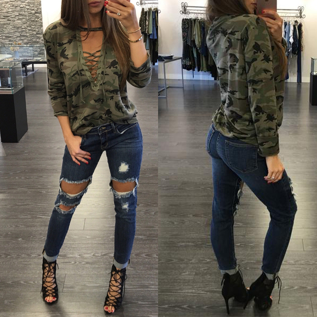 New Fashion Women Long Sleeve Deep V Neck Camouflage Lady Clothes Tops Casual Shirt Cotton Loose Tops T Shirt