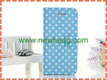 Hot selling wave point Polka Dot PU Leather Mobile Phone wallet Case for iPhone 6