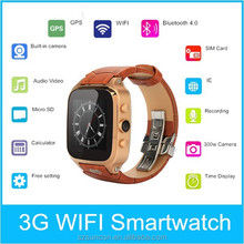 8G memory multi touch screen android 4.4 3G WCDMA wifi smart watch phone bluetooth watch