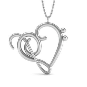 Music Note Pendant Necklace, 925 Sterling Silver 18 Inch Necklace with Heart of Treble & Bass Clefs Pendent