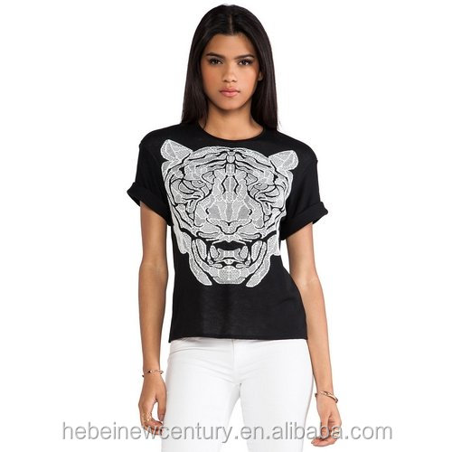 Bengal Tiger Bengal Tiger Printing Round Collar Short Sleeve Women T-Shirt New Fashion Dress