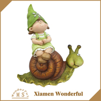 garden decorations funny girl figurine with magnesia material