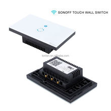 Sonoff Wifi Wireless Smart Switch Touch Luxury Glass Panel LED Light Wall Switch 1Gang US/EU Plug Via App Smart Home