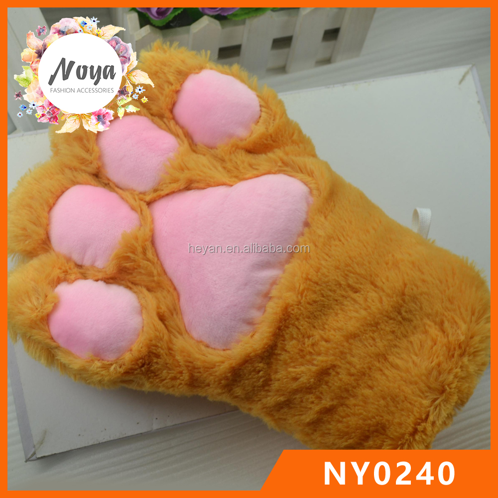 Fluffy Bear Cat Paw Gloves Plush Anime Novelty Cosplay Party Costume Glove