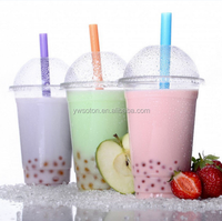 1-24oz custom LOGO printing disposable PET plastic juice smoothie cup with lid for milkshakes
