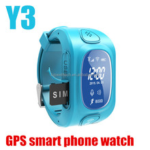 Cheapst Y3 GPS/GSM/Wifi Tracker wrist watch kids gps watch Y3 phone with sos support GSM phone android IOS anti lost