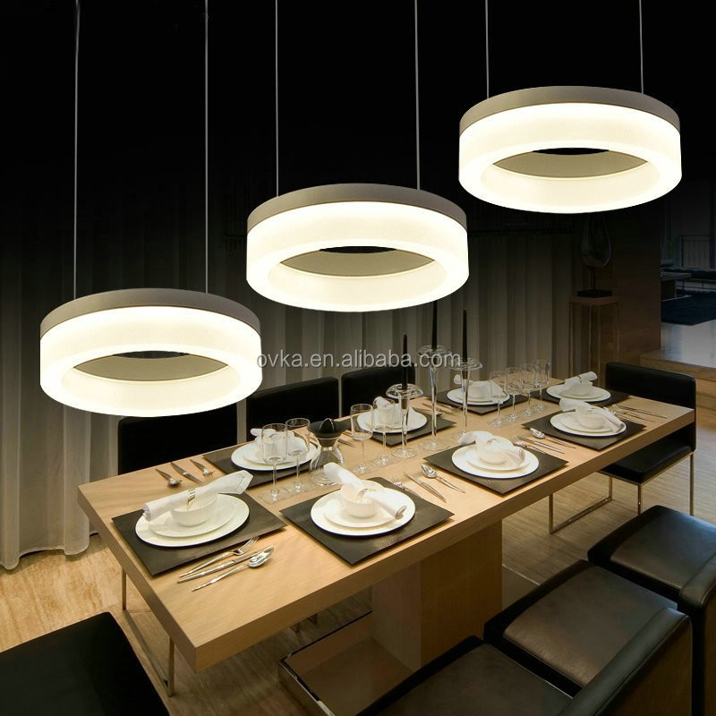 creative three head modern simple restaurant chandeliers round shaped acrylic pendant lamp hanging light