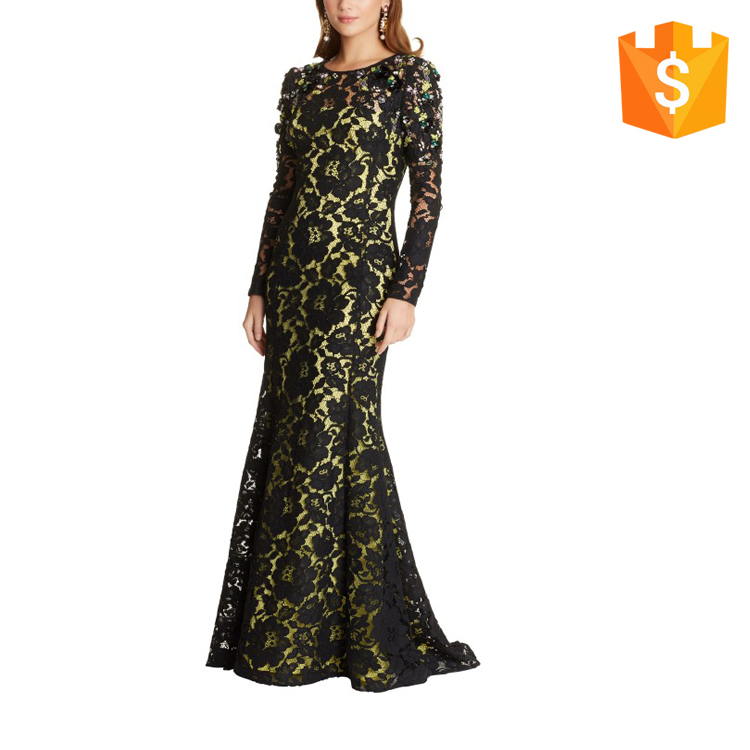 2017 Elegant Dress Women Evening Maxi Dress Long Sleeve With Lace Overlay