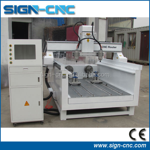 two spindle and two rotary device cnc router engraver machine