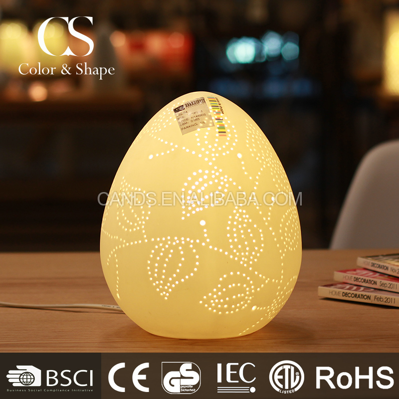 Cheap price good quality egg shape leaf pattern table light
