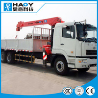 10 tons truck mounted crane with 5 booms hydraulic CCC dongfeng