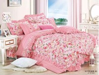 160CM Width White Cotton Fabric Pink Big Floral Printed Cotton Patchwork Sewing Fabric for bedsheet
