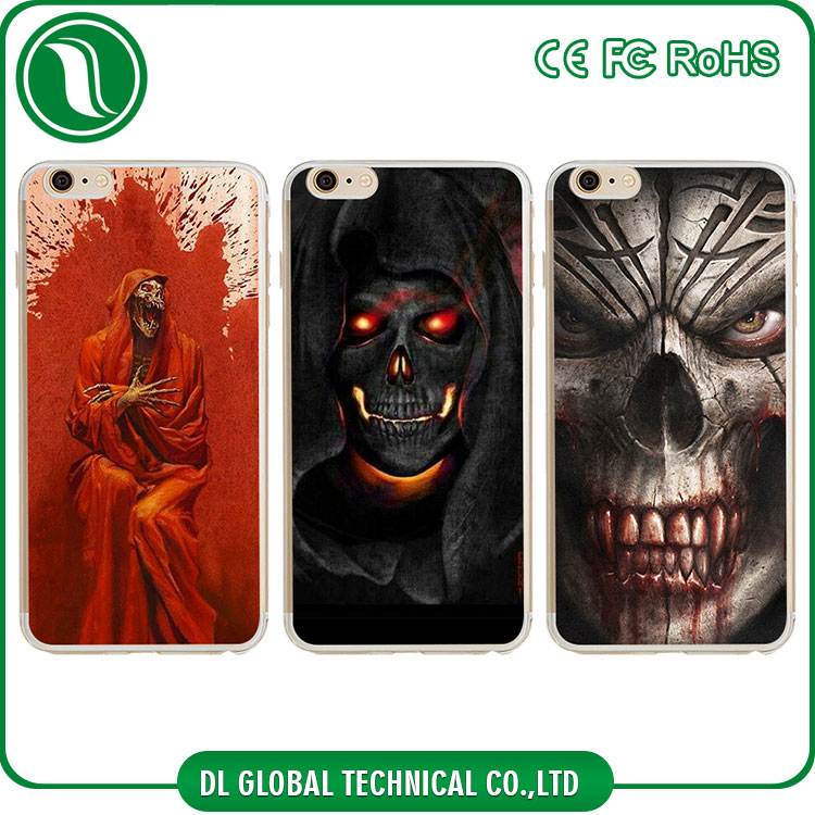 Horrific mobile case for halloween soft tpu cover with printing skull for iphone 7