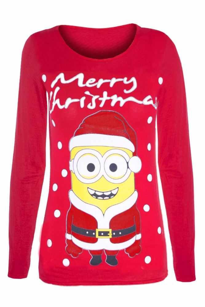 Custom Fashion Womens Long Sleeve Chrismas Santa Snowman Cotton T-shirt